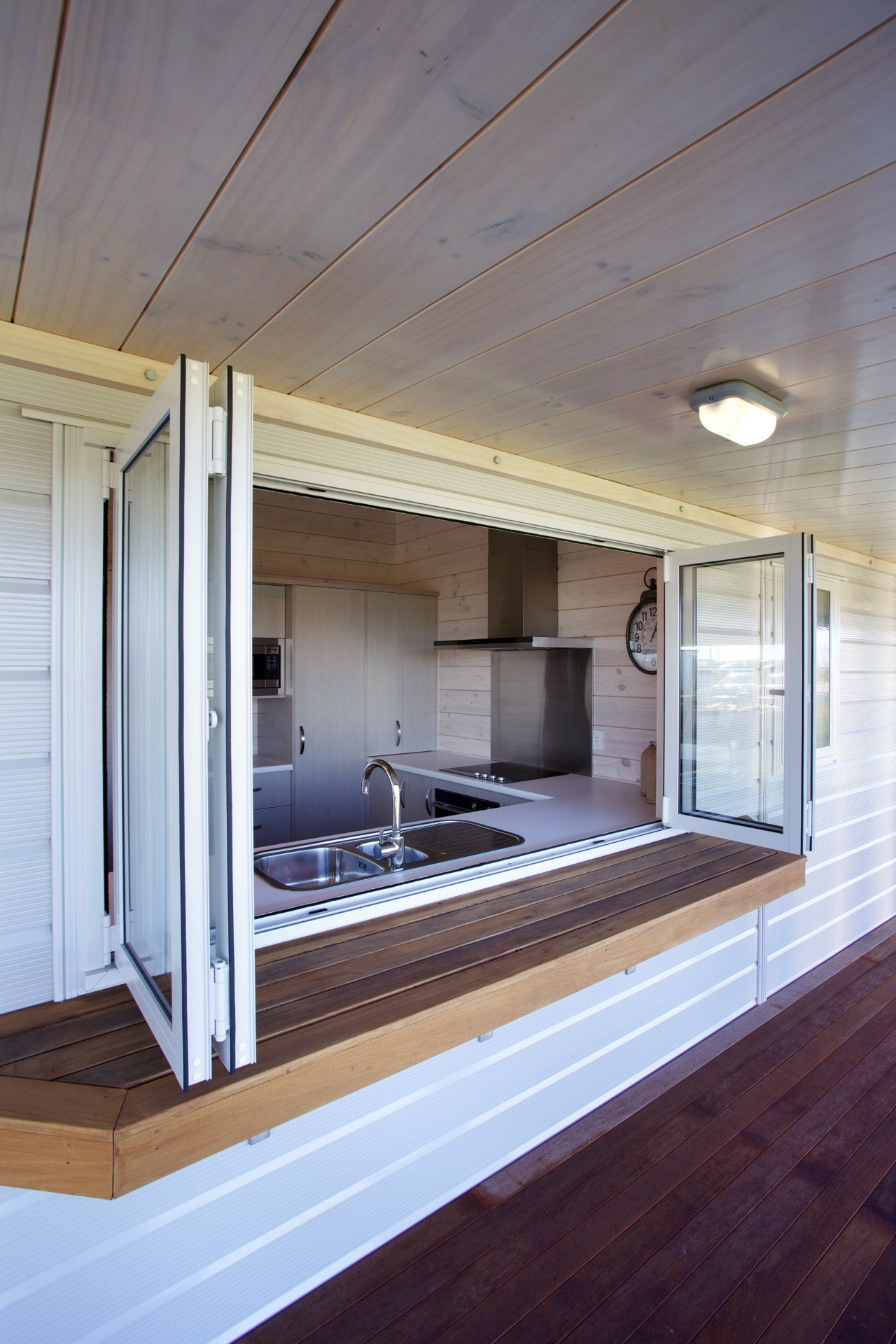 Serving hatch from kitchen to deck on Lockwood architecture, house, interior design, wood, gray