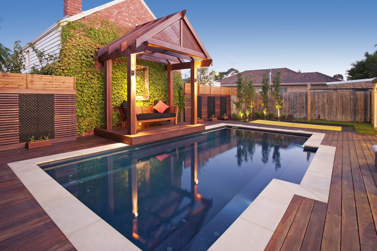Narellan Pools offers contemporary, affordable in-ground pools to backyard, deck, estate, home, house, leisure, outdoor structure, property, real estate, swimming pool, wood, red