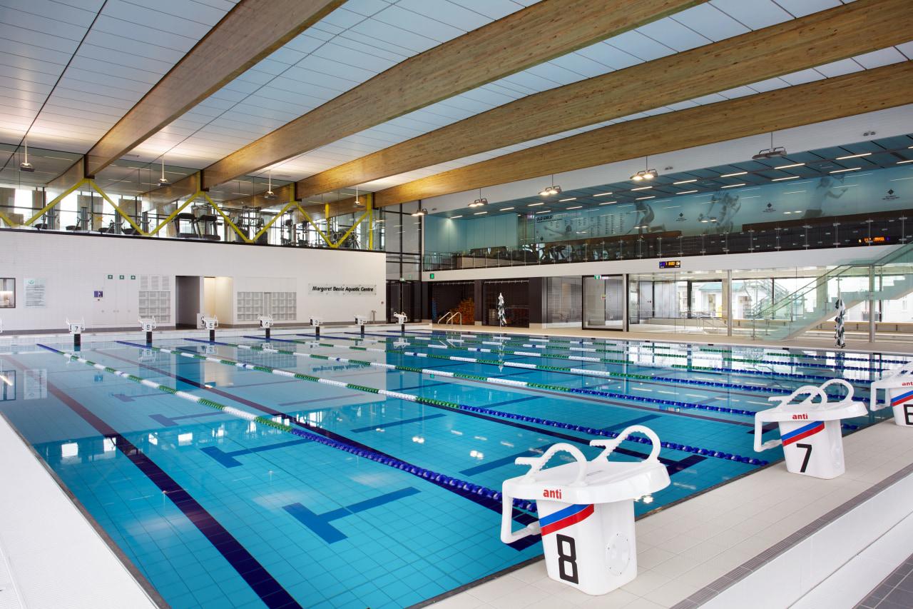Swimming pool at Margaret Beattie Aquatic Centre, part indoor games and sports, leisure, leisure centre, sport venue, swimming pool, gray