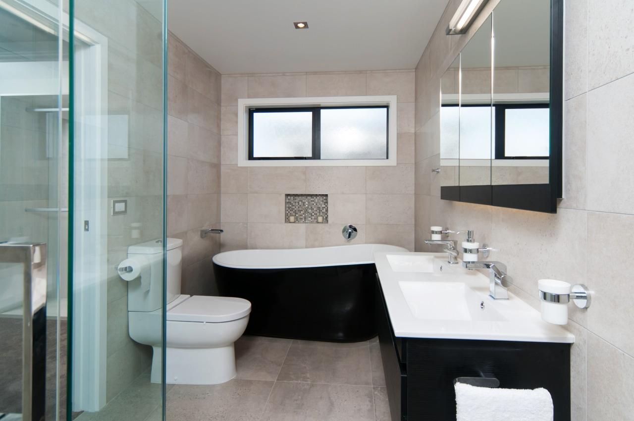 Black, white and warm sandy tones were chosen architecture, bathroom, home, interior design, real estate, room, sink, gray