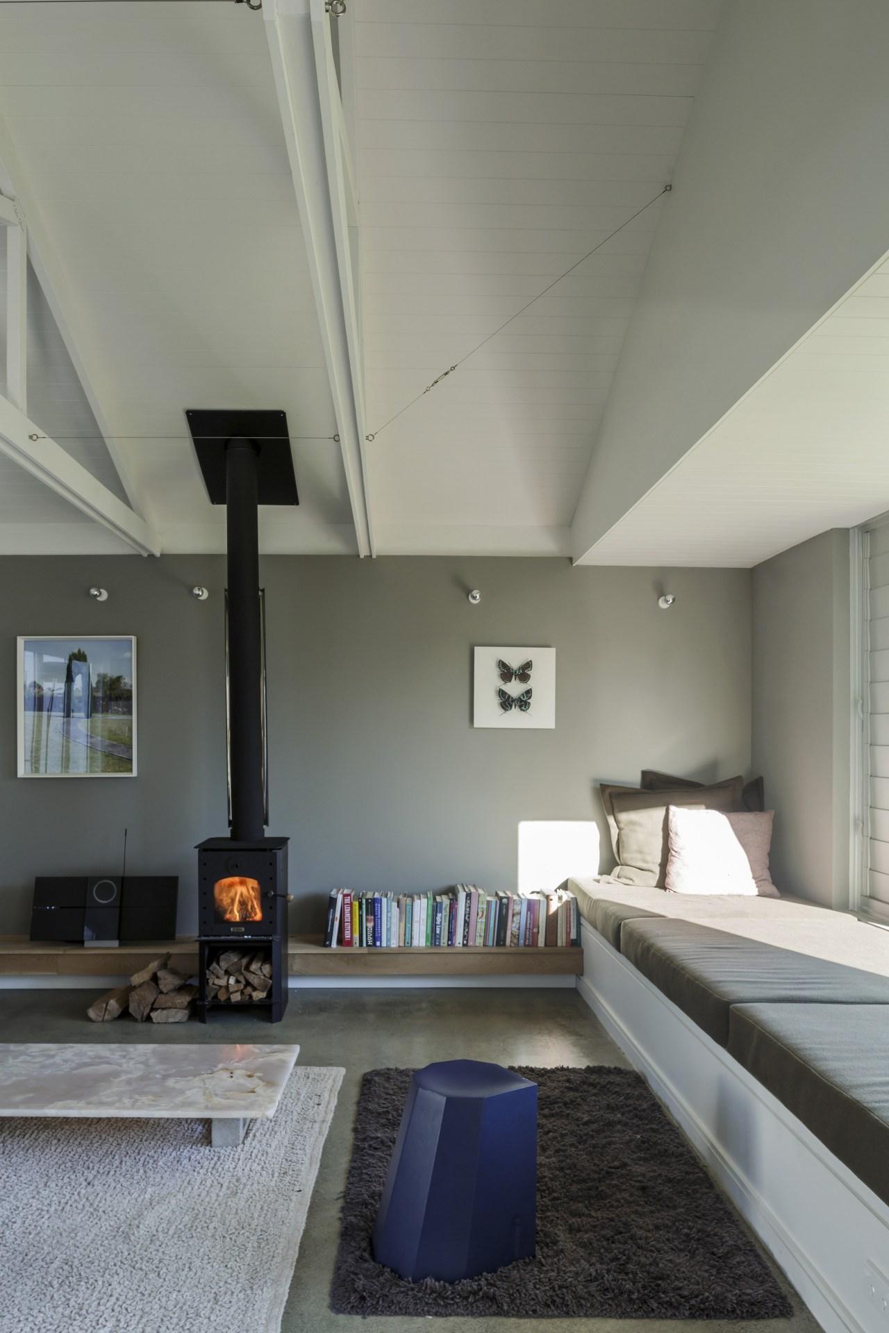 Resene paints, including Resene Friar Grey and Resene architecture, ceiling, daylighting, house, interior design, living room, loft, gray