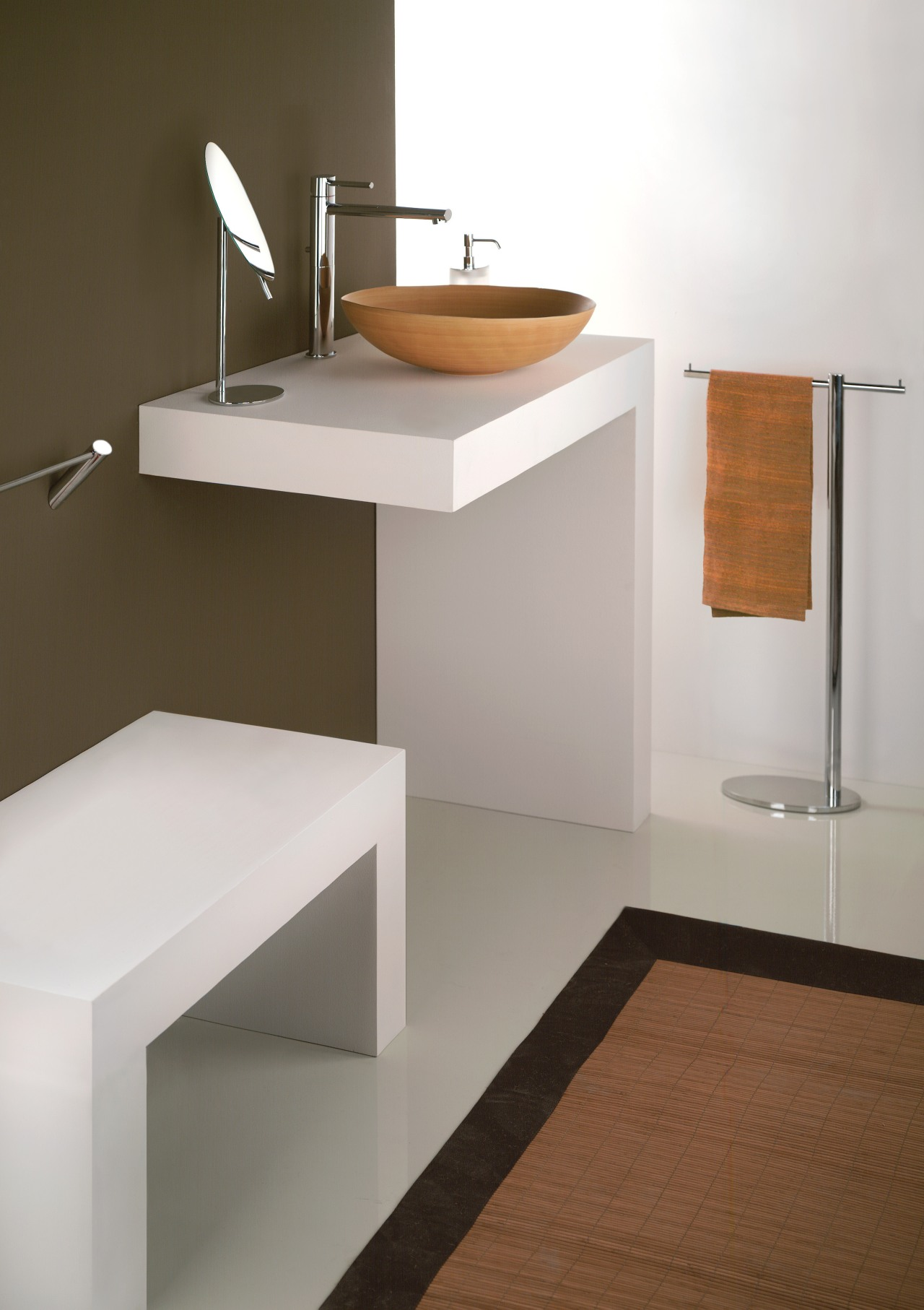 Enduring designs from Gessi include elliptical Ovale faucets angle, bathroom, bathroom accessory, bathroom cabinet, bathroom sink, ceramic, drawer, floor, furniture, interior design, plumbing fixture, product design, shelf, sink, tap, white, brown