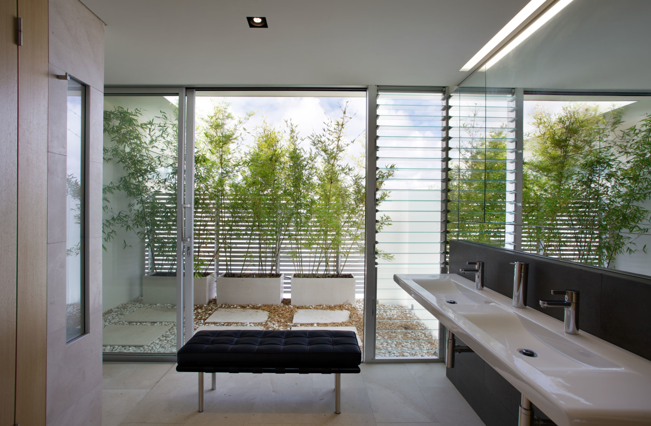 The storage in this ensuite bathroom is on architecture, daylighting, house, interior design, real estate, window, gray