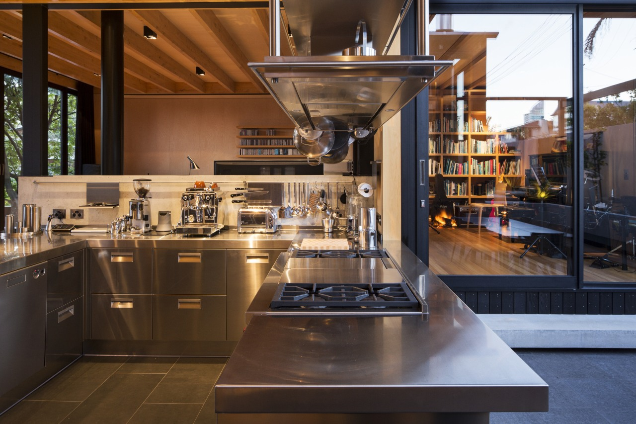 Stainless steel cabinetry gives an unexpected touch and countertop, cuisine classique, interior design, kitchen, brown