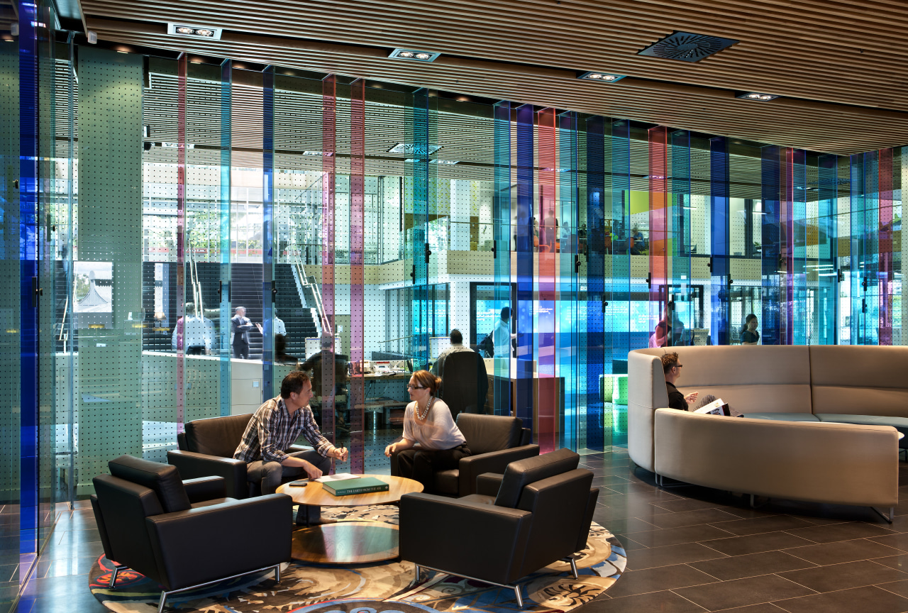 Collaborative spaces in the future workplace may include interior design, lobby, brown