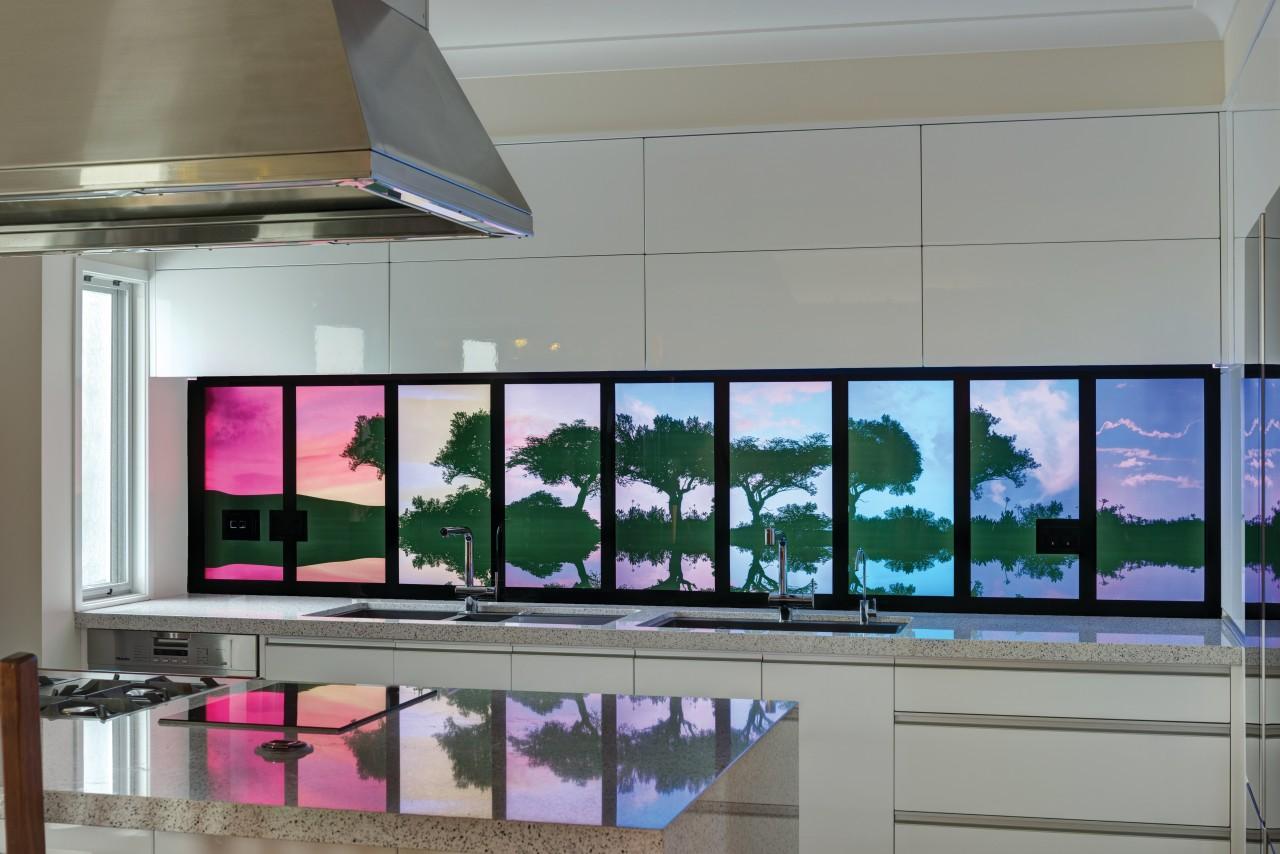 Illuminati backlit glass panels feature static or programmable display device, glass, interior design, window, gray