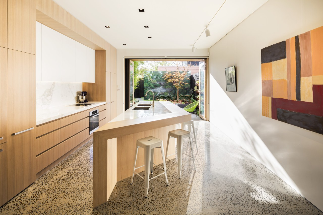 This kitchen renovation, by Mitsuori Architects is a architecture, house, interior design, real estate, white, orange