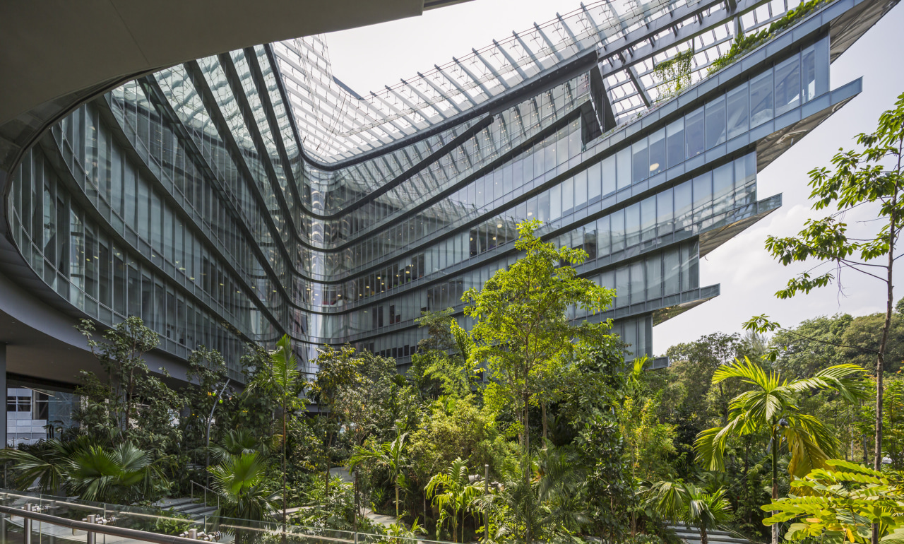A stepped floorplate on this new Singapore office architecture, building, condominium, corporate headquarters, facade, headquarters, metropolitan area, mixed use, real estate, tree, black