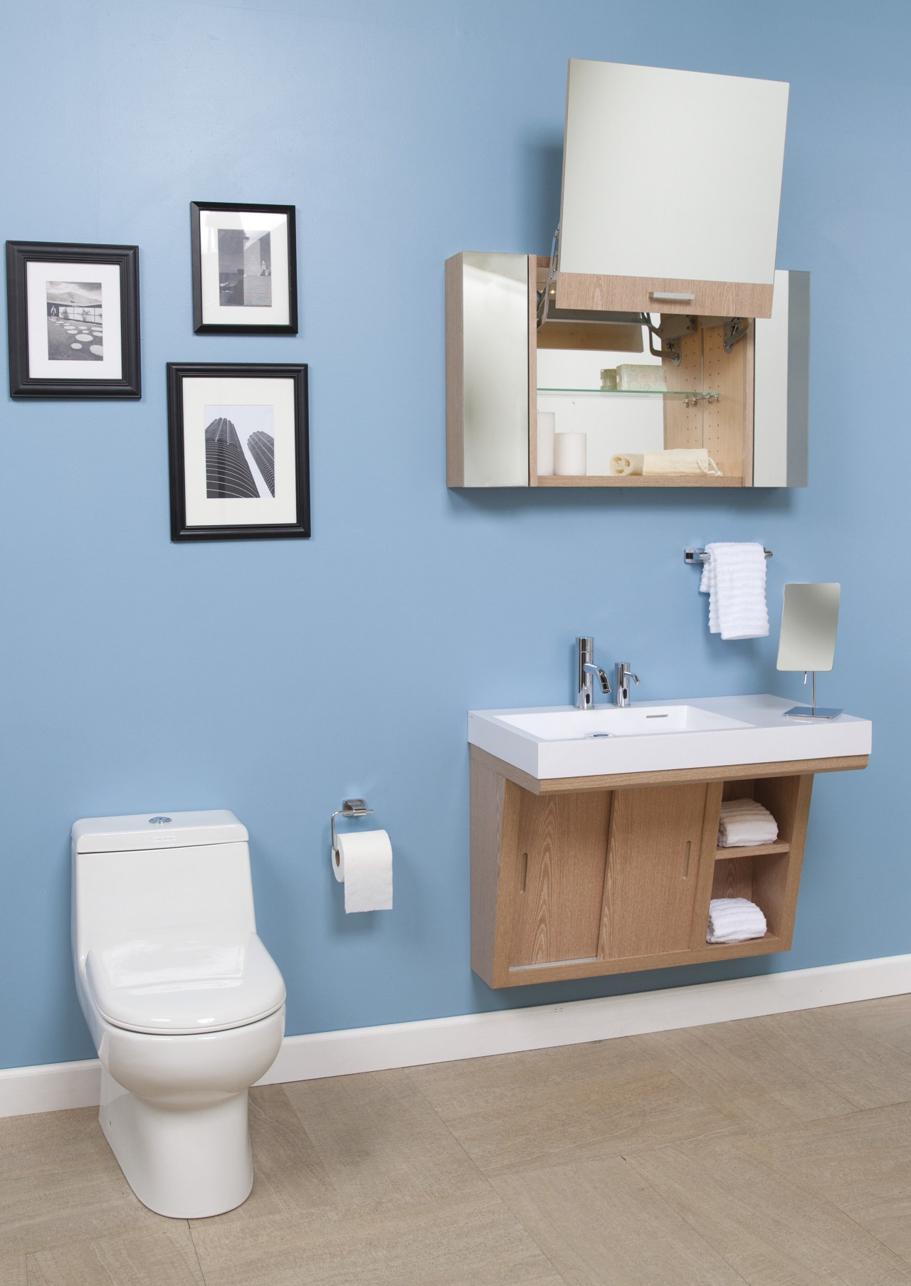 Libera vanities from Lacava are teamed with Zoom bathroom, bathroom accessory, bathroom cabinet, bathroom sink, plumbing fixture, product, product design, room, shelf, shelving, sink, tap, toilet, toilet seat, teal