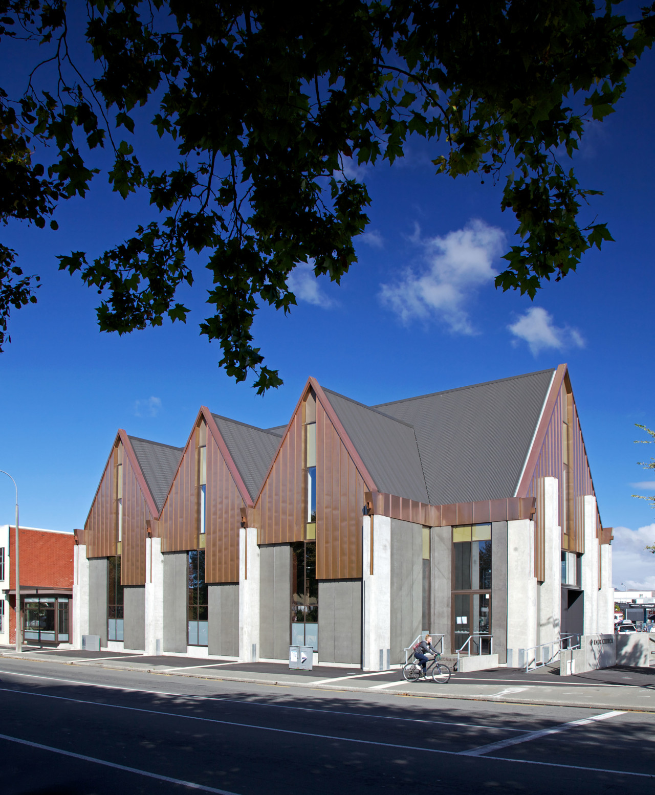 Knox Church in Christchurch features Colorsteel® Endura® roofing architecture, building, facade, home, house, real estate, residential area, sky, blue