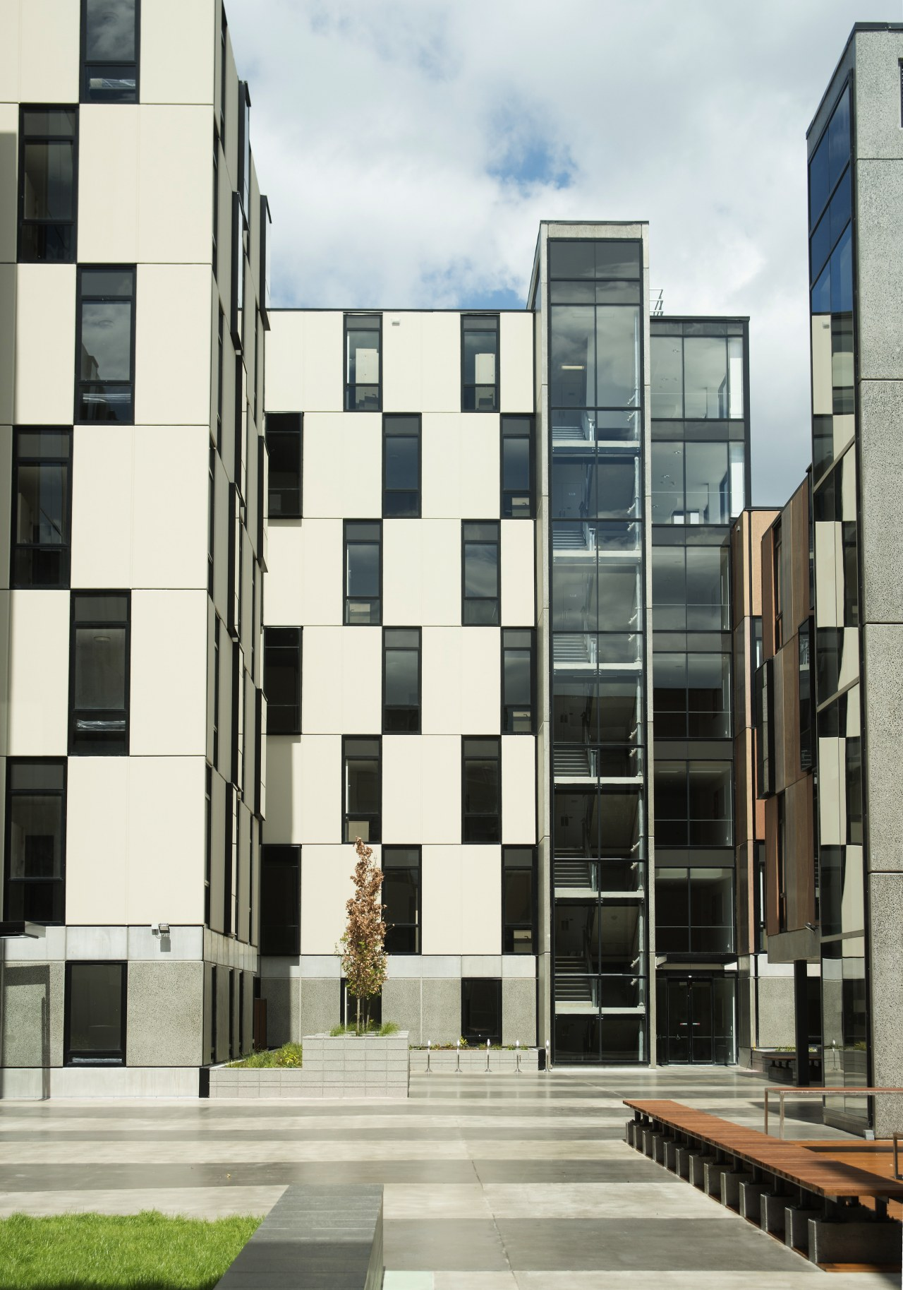 The Carlaw Park Student Village features customised door apartment, architecture, building, commercial building, condominium, corporate headquarters, facade, house, mixed use, neighbourhood, residential area, urban design, window, white