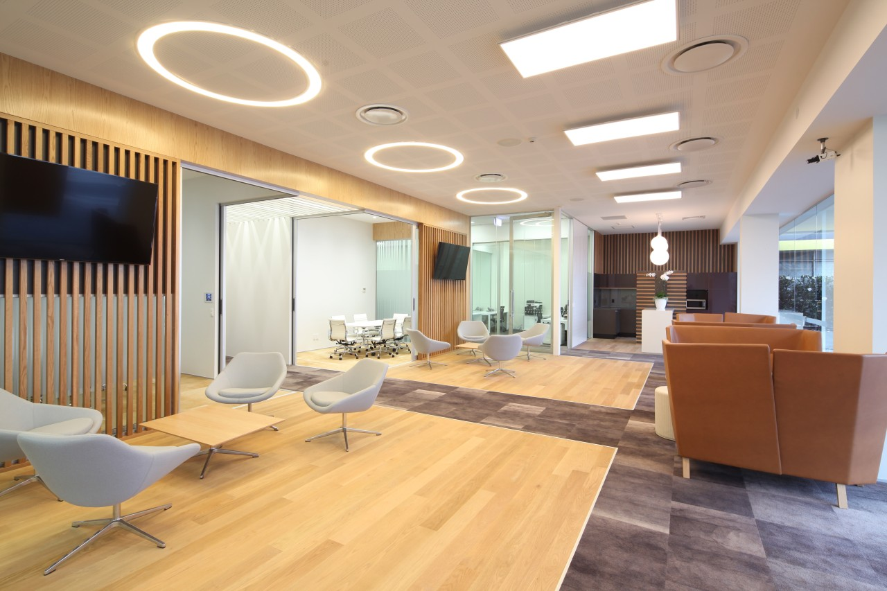 The new office for Bayleys in Remuera Road, ceiling, daylighting, floor, flooring, interior design, lobby, office, real estate, gray, orange