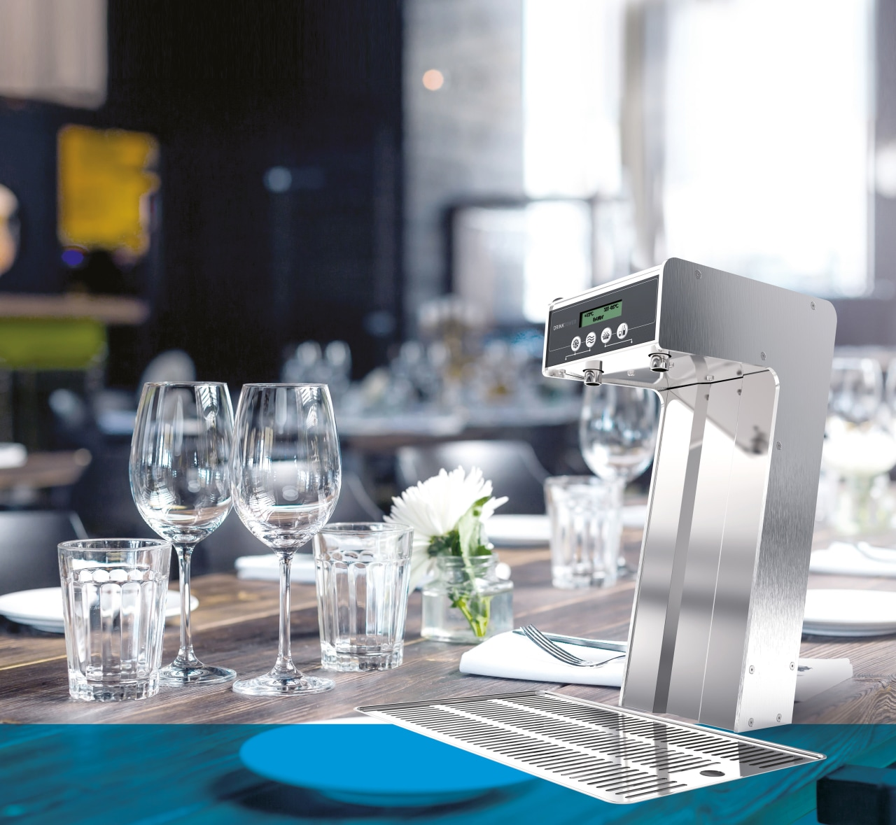 Merquip supplies an extensive range of Cosmetal filtered glass, product, product design, restaurant, table, tableware, gray, white