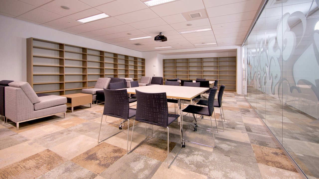 The Ministry of Justice Specialist Courts in Auckland, ceiling, floor, flooring, furniture, interior design, office, table, gray