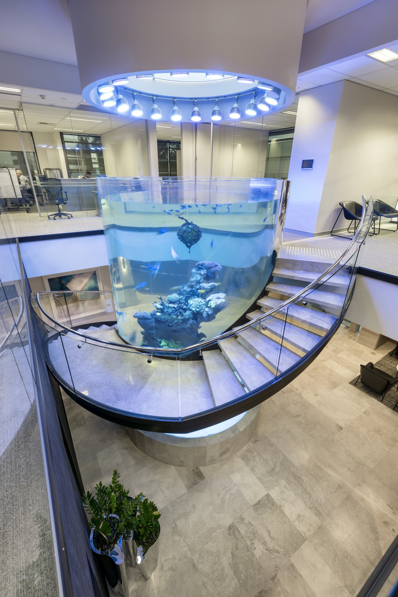 A curved toughened glass balustrade from Glasshape allows glass, interior design, gray