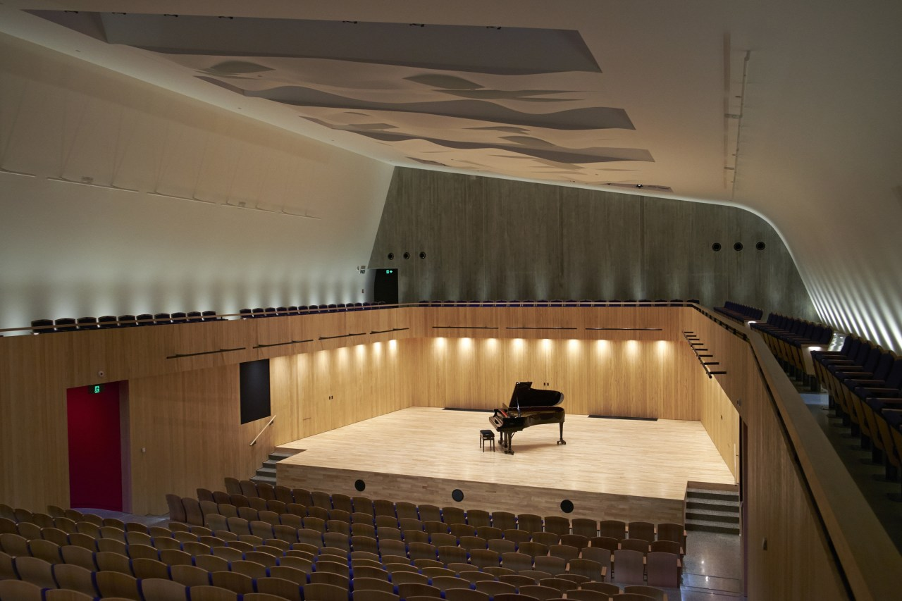 The 400-seat concert chamber at The Blyth Performing architecture, auditorium, ceiling, concert hall, daylighting, floor, flooring, interior design, performing arts center, stairs, theatre, tourist attraction, wall, wood, brown