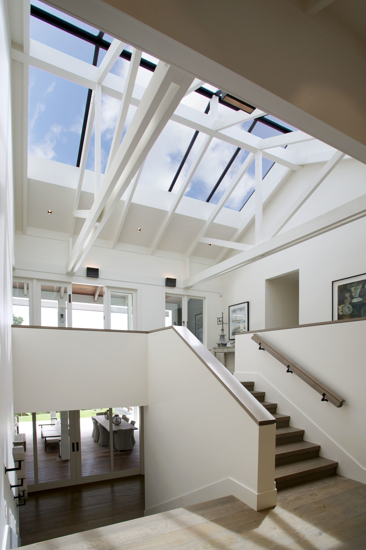 Timberworld provided all lining and insulation for this architecture, ceiling, daylighting, handrail, home, house, interior design, loft, product design, stairs, window, gray