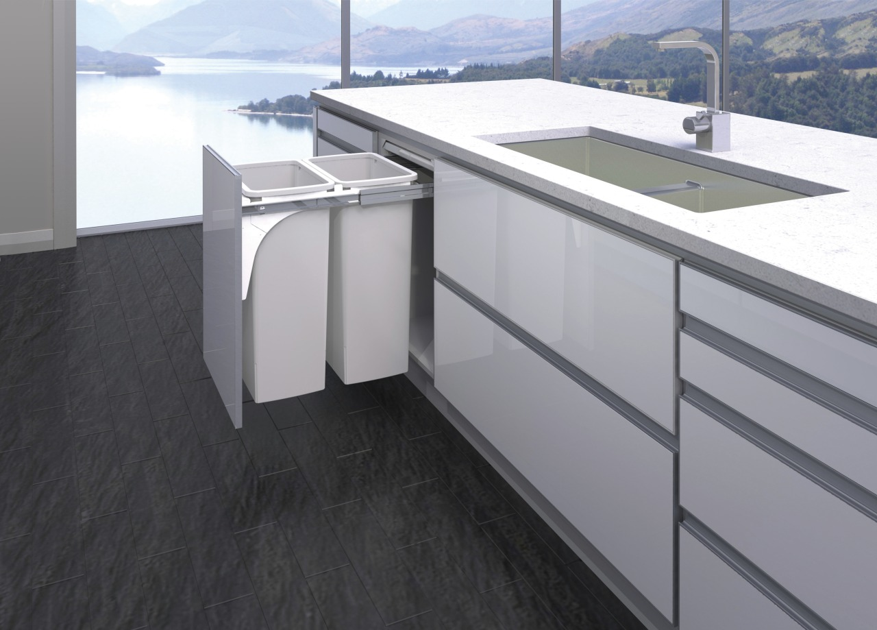 There is a discreet Hideaway Bin storage or countertop, floor, product, product design, gray, black