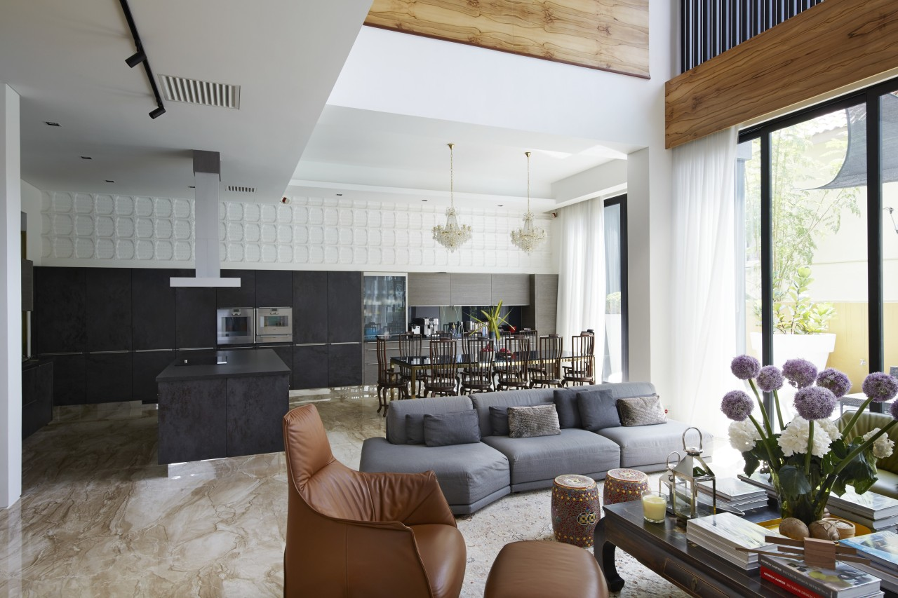 A long plaster wall treatment adds texture to ceiling, home, house, interior design, living room, real estate, room, white