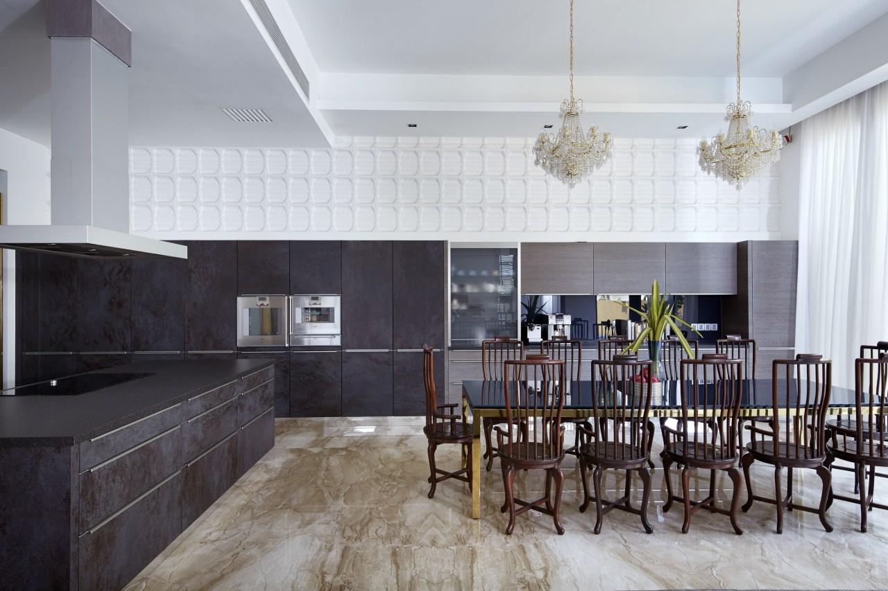 Marble flooring helps to bring nature inside. countertop, floor, flooring, interior design, kitchen, real estate, room, gray, black, white