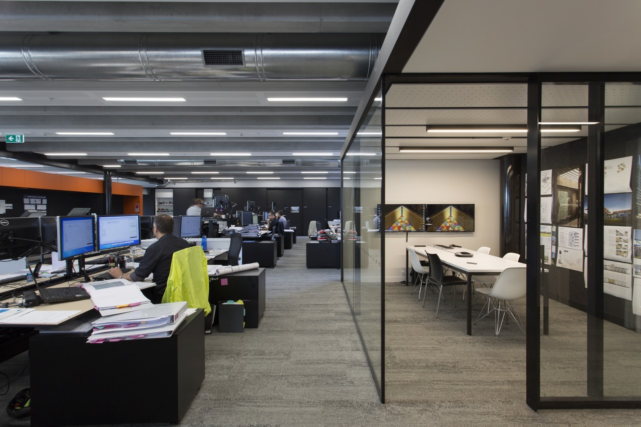 Doors glide smoothly on the custom-designed meeting rooms institution, interior design, office, gray, black
