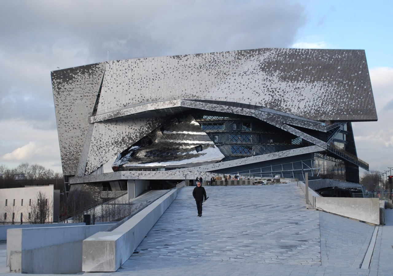 The design of the Philharmonie de Paris concert architecture, building, fixed link, sky, structure, water, gray