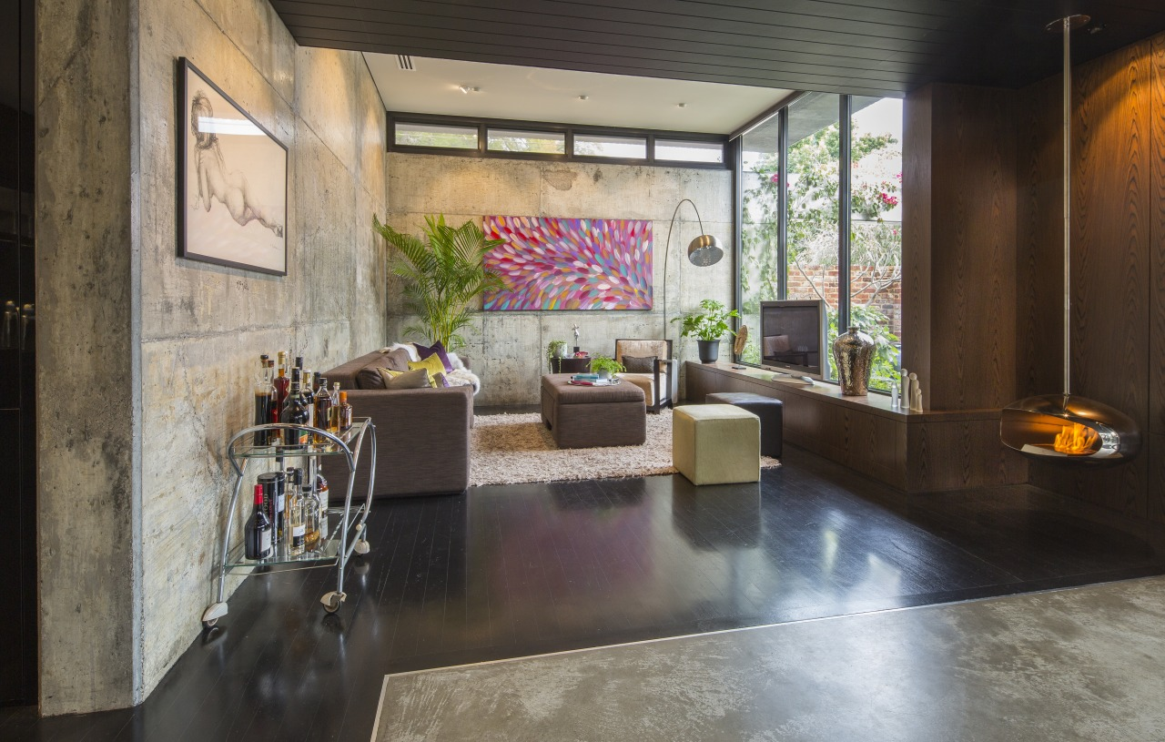 This North Perth renovation by Arc seven.1 took interior design, living room, lobby, gray, black
