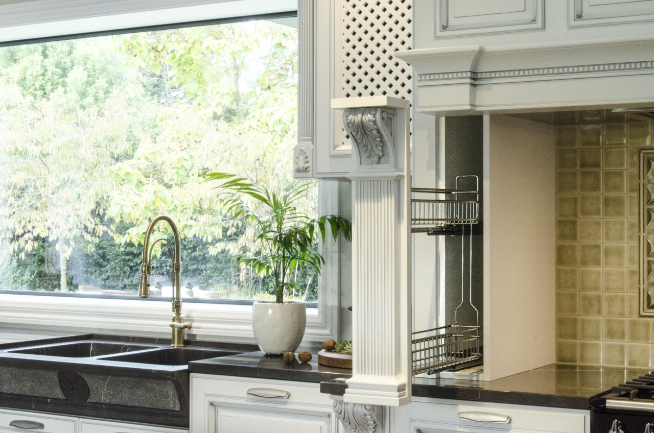 When is a pilaster not just a pilaster? countertop, home, interior design, kitchen, property, window, window covering, white