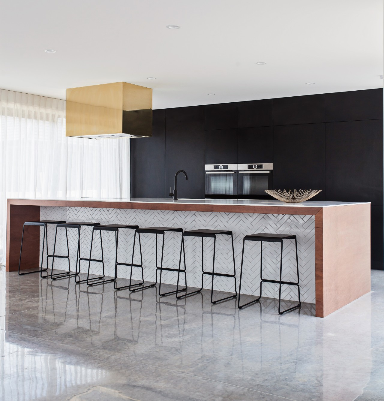 In this kitchen, by owner and designer Annika chair, countertop, floor, flooring, furniture, interior design, kitchen, product design, table, gray, white