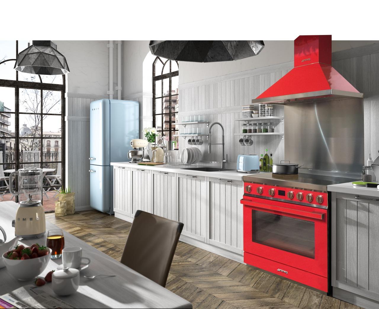 Bold and brand-new, Smegs colourful Portofino is a countertop, cuisine classique, home appliance, interior design, kitchen, white, gray