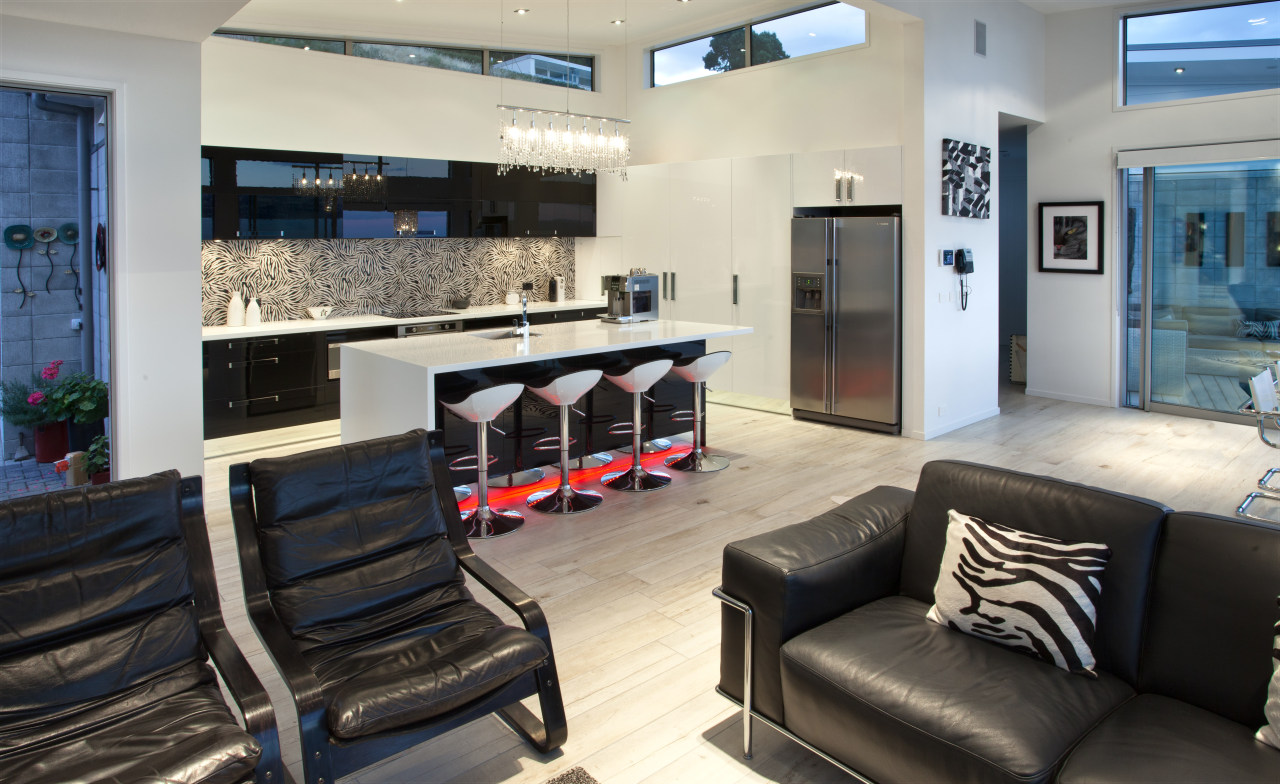 Kitchen Mania created this kitchen in response to interior design, gray, black