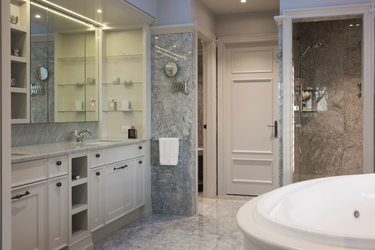 Bifold windows draw back to open this master bathroom, bathroom accessory, bathroom cabinet, floor, home, interior design, room, gray