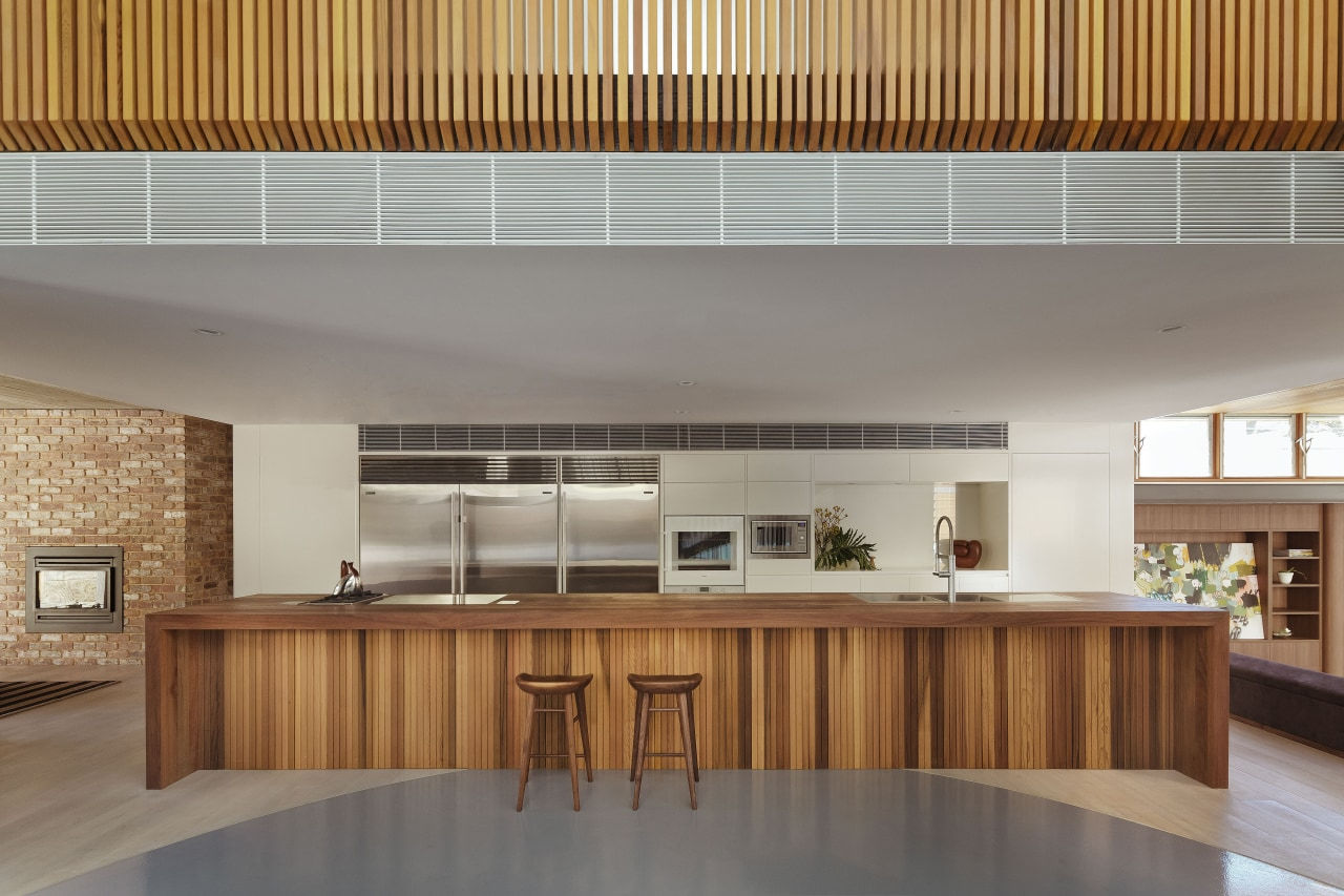 A six-metre long island with a spotted gum architecture, ceiling, daylighting, house, interior design, kitchen, lobby, real estate, wood, gray, brown