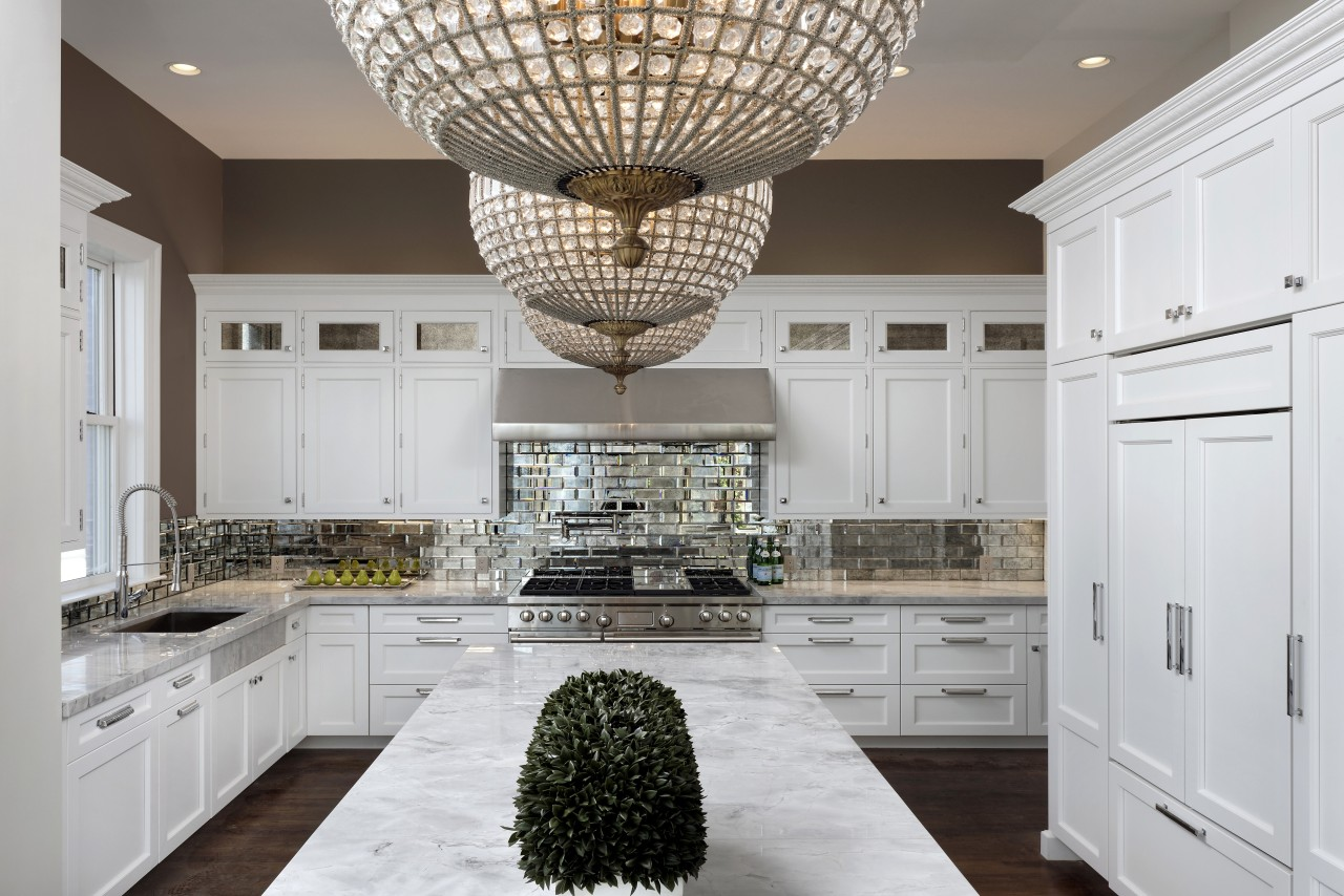 Traditional features such as antique chandeliers and mirror cabinetry, ceiling, countertop, cuisine classique, home, interior design, kitchen, room, gray, white