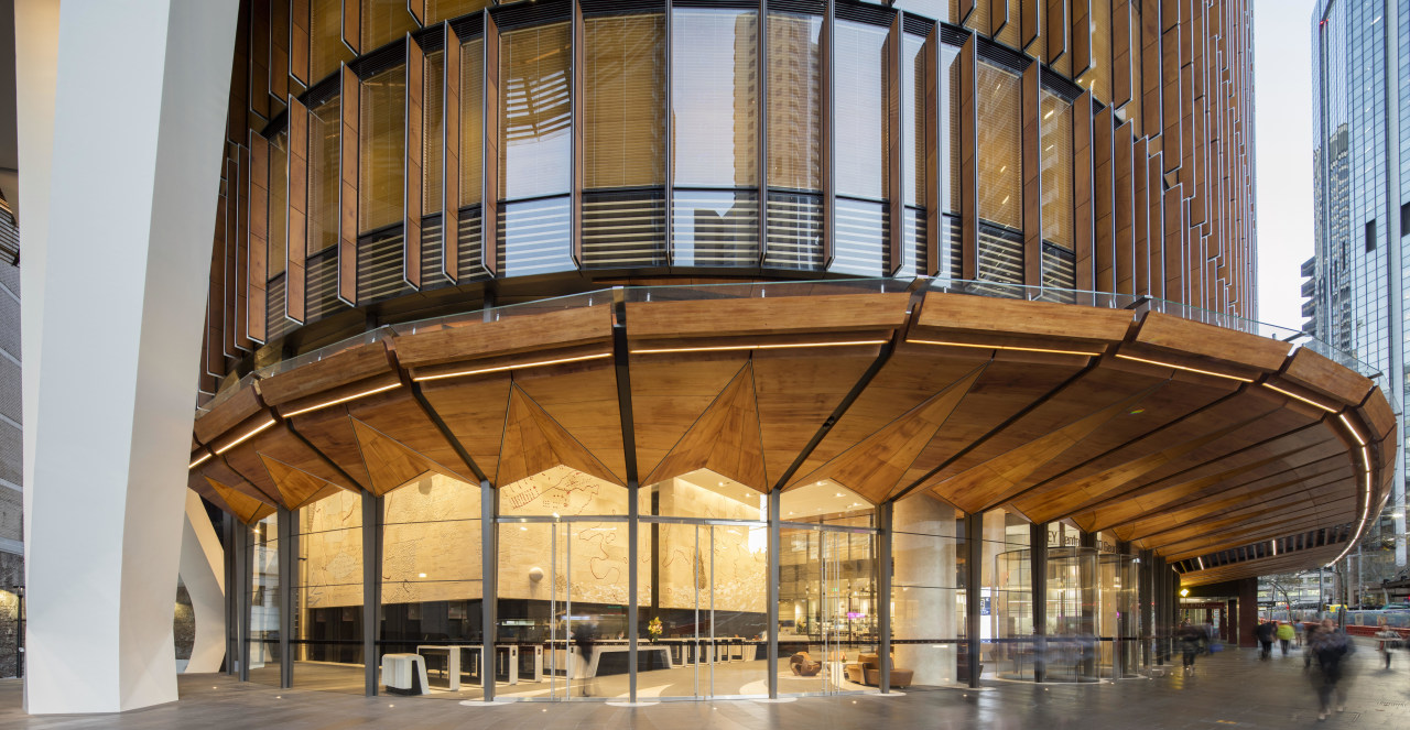 The broad folded timber awnings that shade and architecture, building, facade, structure, brown