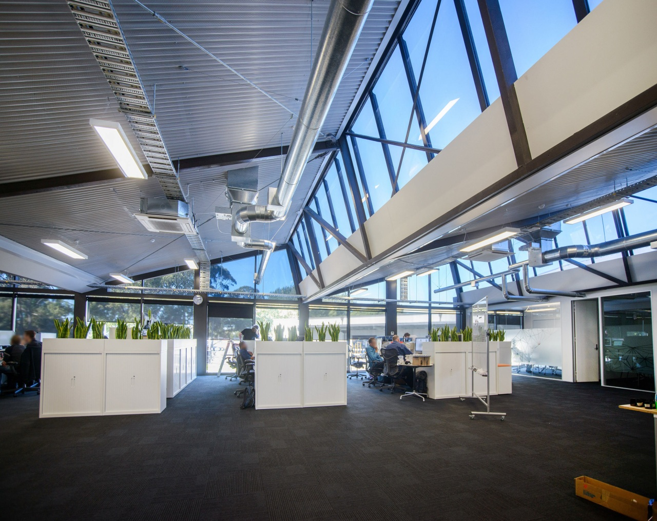 Window solutions from Fairview Systems optimise natural light, ceiling, daylighting, headquarters, real estate, gray, black