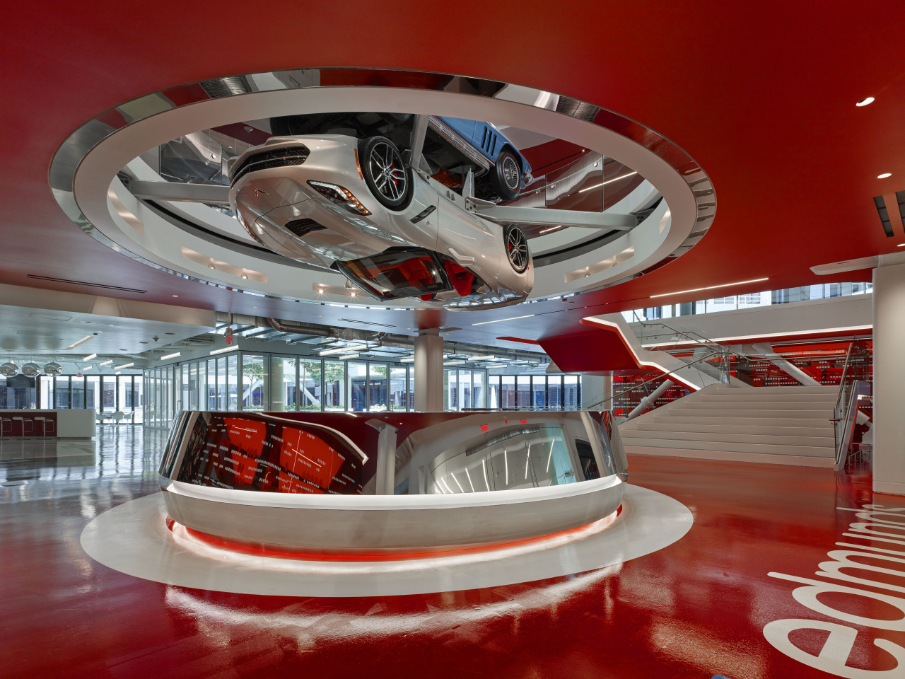 Pride of place at Los Angeles-based online car automotive design, interior design, red, gray