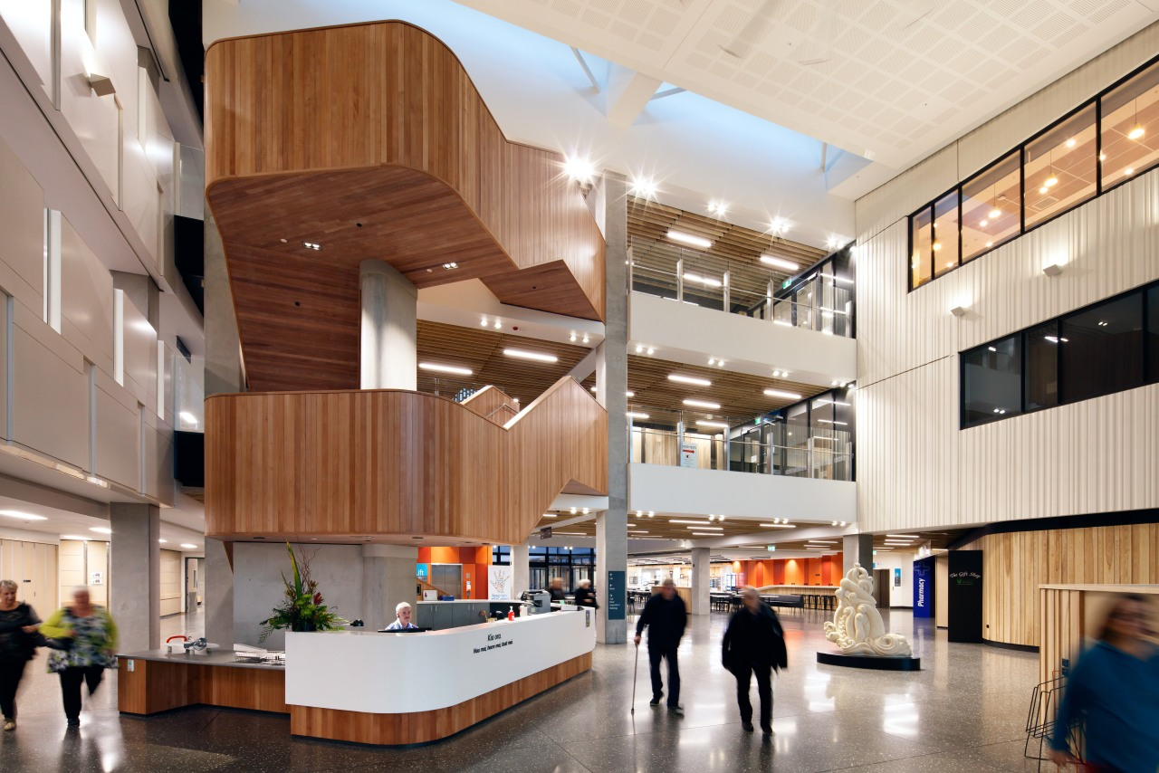 The double-height arrival atrium at Burwood Hospital extension architecture, institution, interior design, lobby, gray