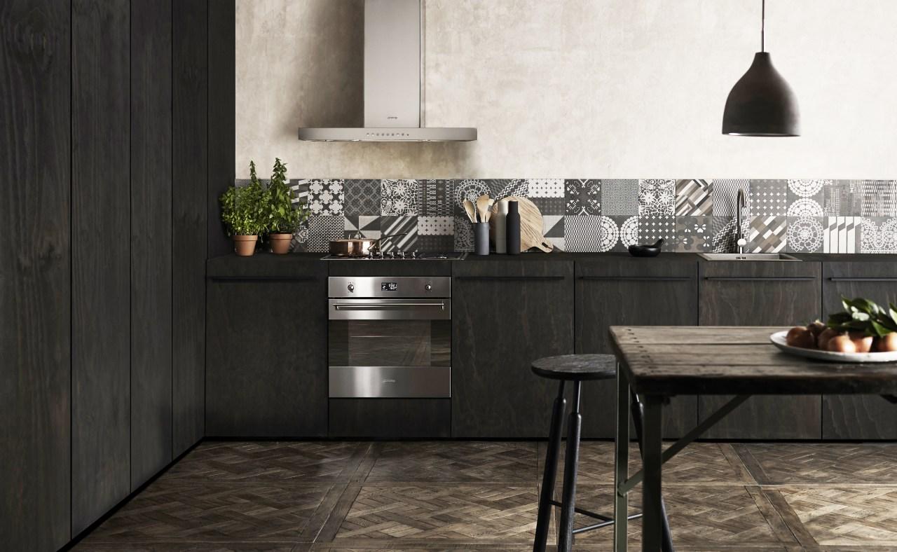 Smeg creates diverse appliance ranges that respond to countertop, cuisine classique, floor, flooring, furniture, interior design, kitchen, product design, table, tile, black, white