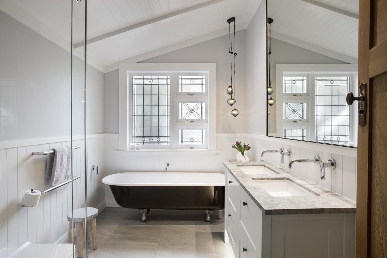 The Pacifica leadlight window and pendant lighting in bathroom, bathroom accessory, countertop, floor, home, interior design, room, sink, window, gray