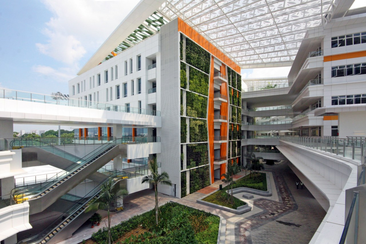 Singapore's ITE College Central includes one of the apartment, architecture, building, condominium, corporate headquarters, metropolitan area, mixed use, real estate, white, gray