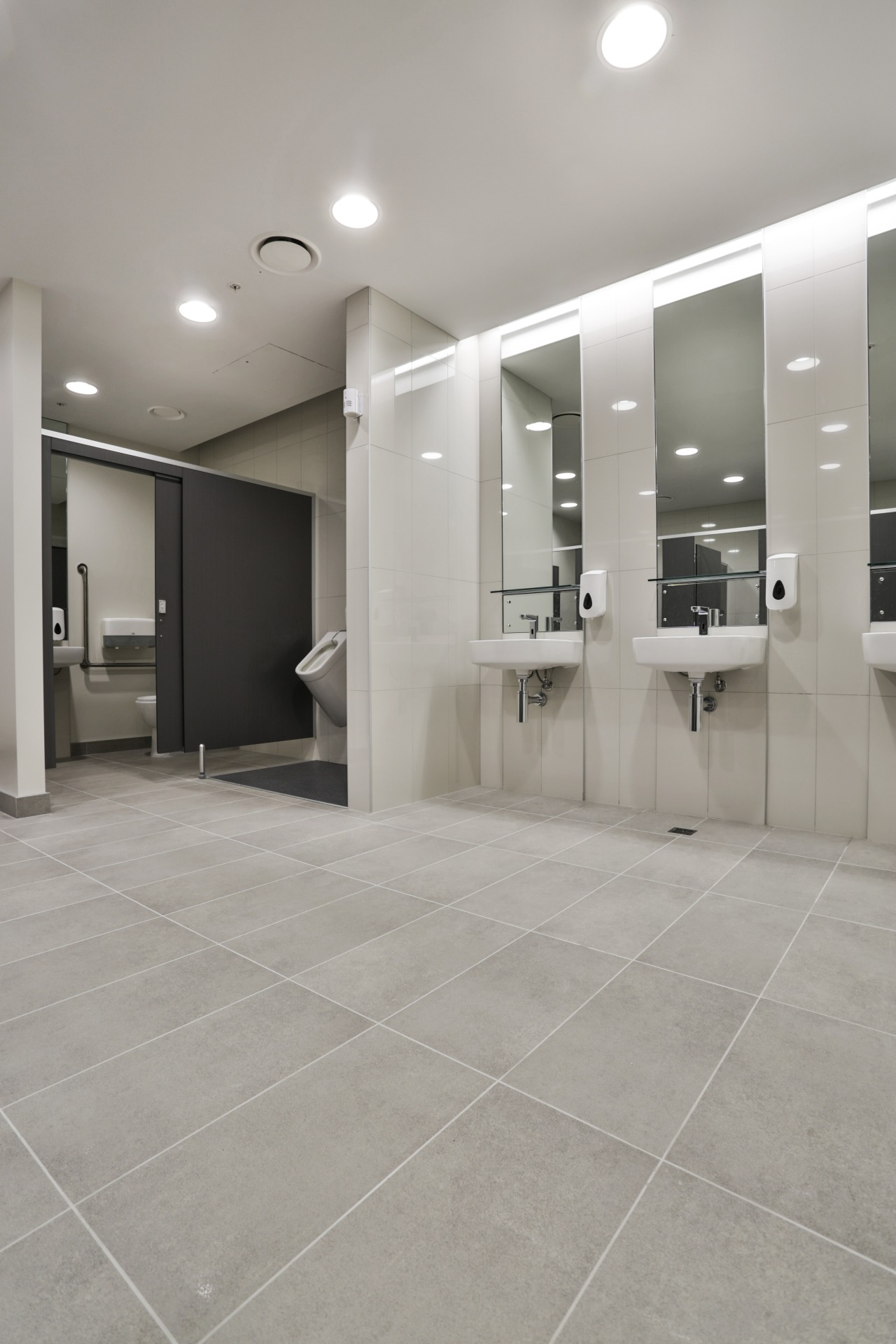 As part of the refined fit-out of the bathroom, floor, flooring, interior design, laminate flooring, lobby, real estate, tile, wood flooring, gray