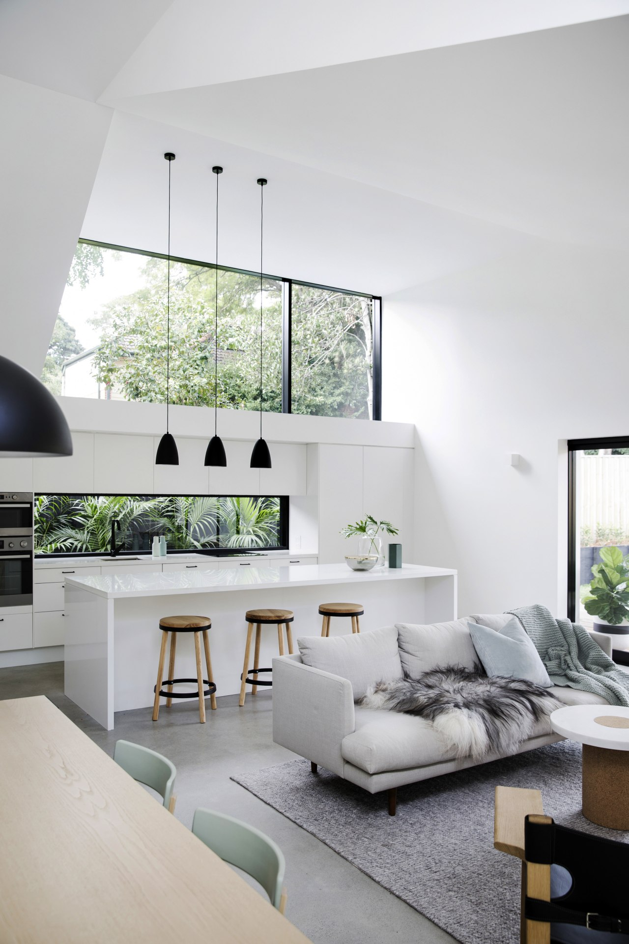 Architect Eva-Marie Prineas design for this renovation project architecture, ceiling, daylighting, furniture, home, house, interior design, interior designer, living room, room, table, wall, gray, white