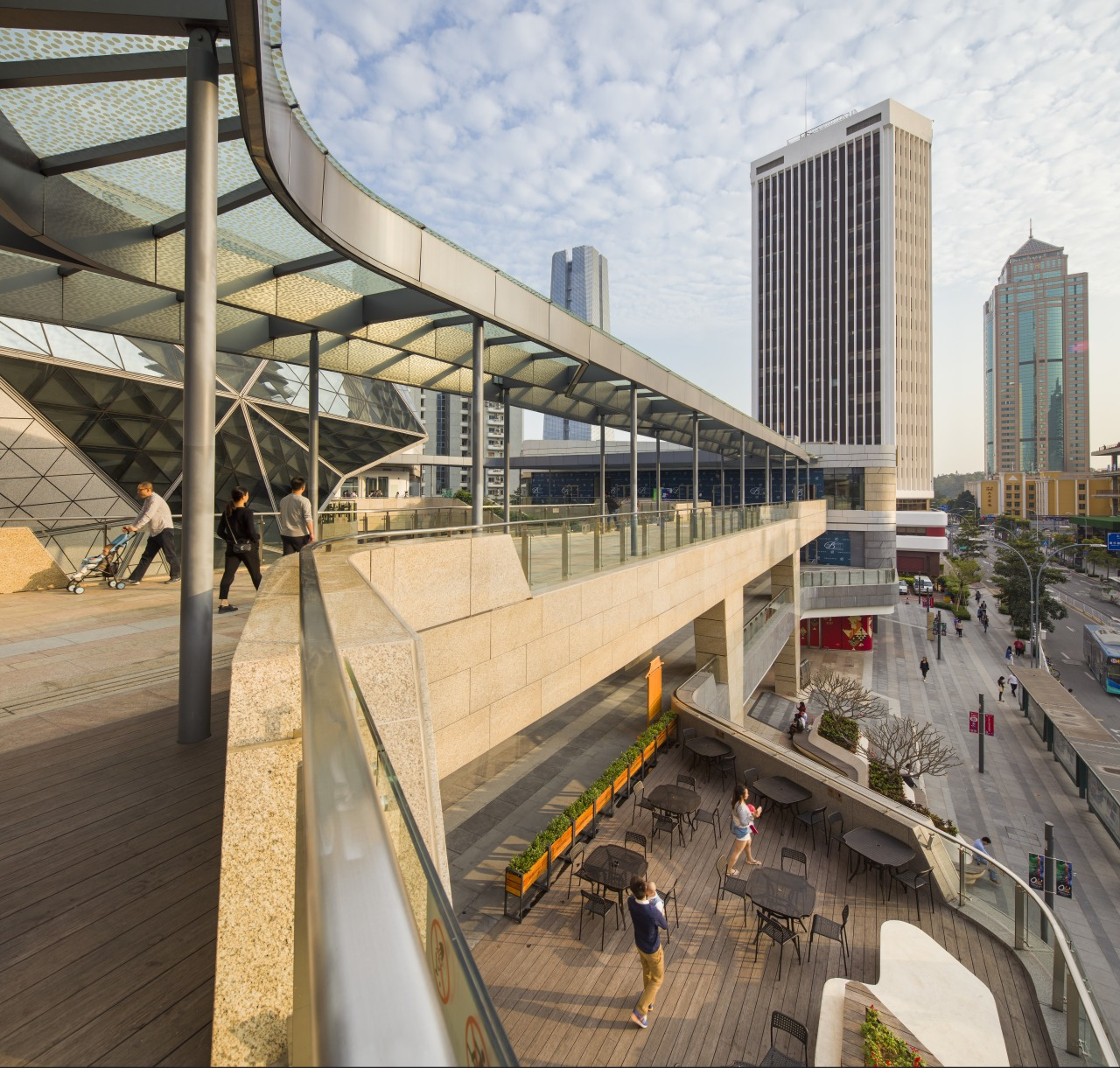 Broad terraces and large balconies give Shekou Gateway architecture, building, city, metropolis, metropolitan area, mixed use, skyway, structure, urban area, gray