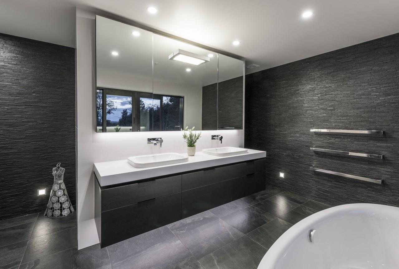 Despite the floor decoration on entry, this bathroom architecture, bathroom, interior design, room, black, gray