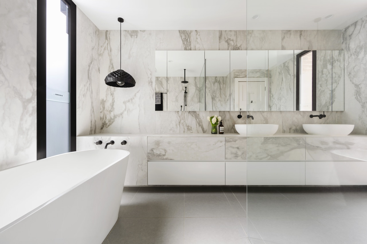 As well as the extensive wall of under architecture, bathroom, floor, flooring, interior design, interior designer, product design, room, sink, tap, tile, wall, gray