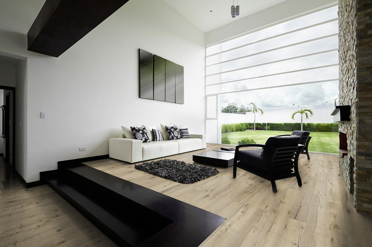 The look of wood without the hassle or architecture, floor, flooring, house, interior design, living room, real estate, window, wood, wood flooring, black, gray, white