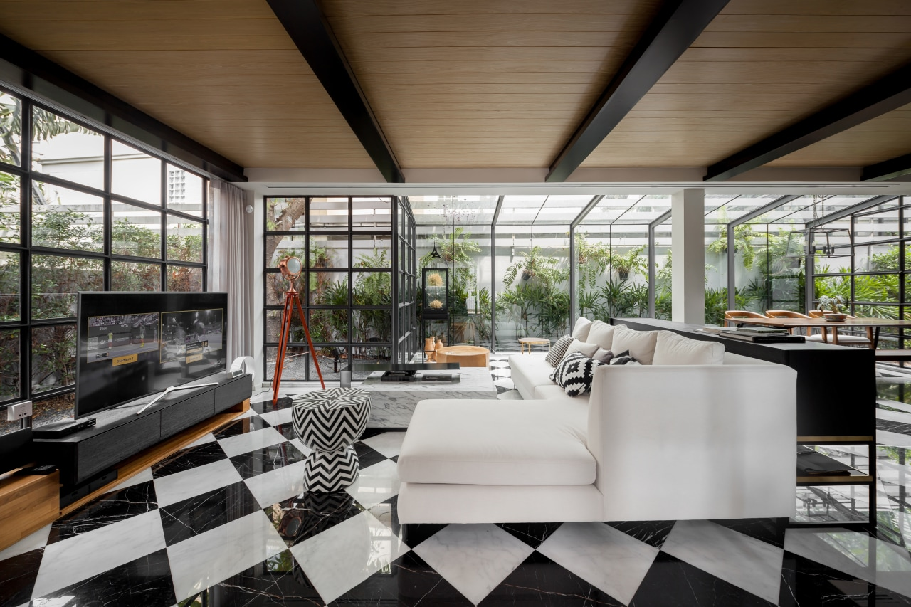 Strive to achieve a balance of functionality and architecture, house, interior design, living room, furniture, furnishings, tile floor,  glass extension, contemporary, renovation