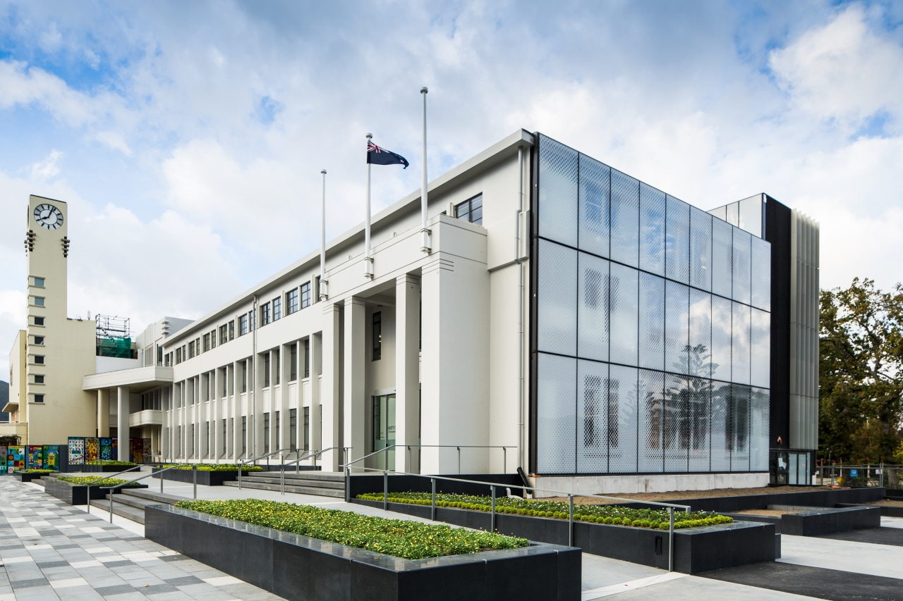 Working closely with the Hutt City Council, Naylor architecture, building, commercial building, corporate headquarters, facade, headquarters, metropolitan area, mixed use, white, gray