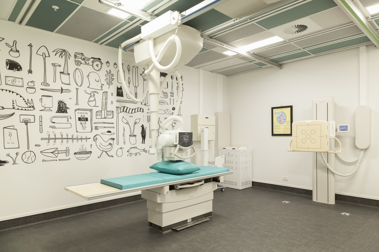 For the Aorangi Specialist Centre in Palmerston North, ceiling, exhibition, hospital, interior design, product design, white